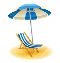 Deck Chair With Umbrella vector