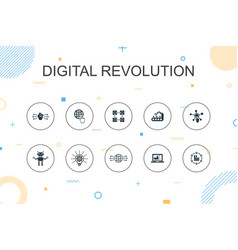 Digital revolution trendy infographic template vector