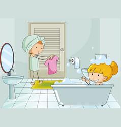 Doodle kids in bathroon vector