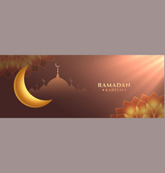 Eid ramadan kareem festival banner with heavenly vector