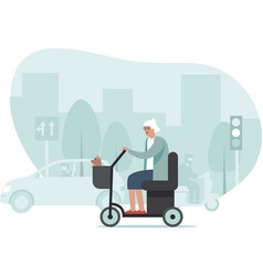 elderly woman driving mobility scooter busy city vector image