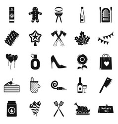 family weekend icons set simple style vector image