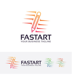 Fast art logo design vector