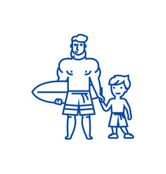 father with son on line icon concept father with vector image