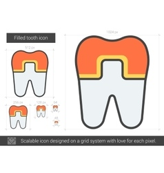 Filled tooth line icon vector