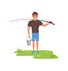 fisherman character with fishing rod and bucket of vector image