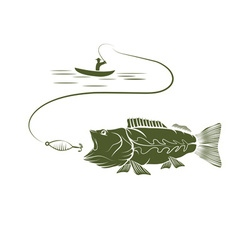 fisherman in a boat and big mouth bass vector image