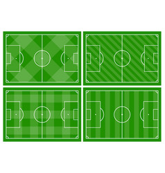 four football fields with different green grass vector image