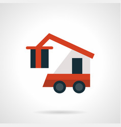 Freight loader flat red icon vector