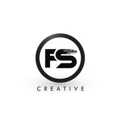 fs brush letter logo design creative brushed vector image