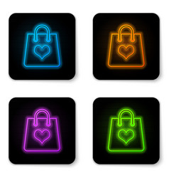 glowing neon shopping bag with heart icon vector image