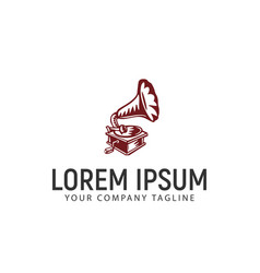 gramophone logo design concept template vector image