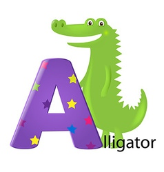 Green Alligator With Letter A vector image