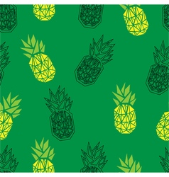 Green geometric pineapple seamless pattern vector
