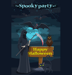 Halloween holiday night party banner with skeleton vector