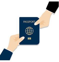 Handing over a passport passport in hands vector