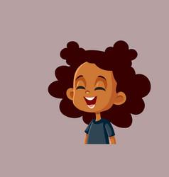 Happy african girl laughing cartoon vector