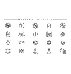 Healthy lifestyle concept line style icons vector