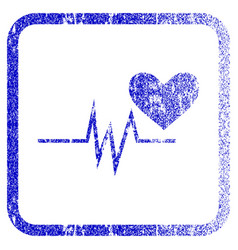 Heart pulse signal framed textured icon vector