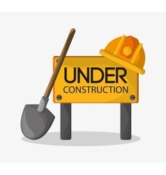 Helmet and shovel of under construction design vector