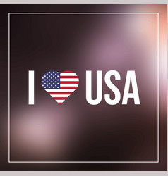 i love usa text with heart flag vector image