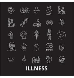 illness editable line icons set on black vector image