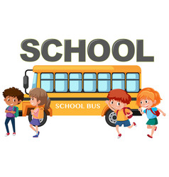 Isolated student and school bus vector