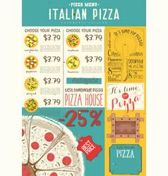 italian pizza menu template vector image