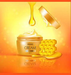 Jar of cream with honey composition vector