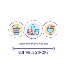 Lactose free dairy products concept icon vector