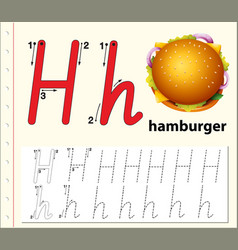 Letter h tracing alphabet worksheets vector