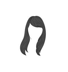 long hair woman hand drawn template vector image