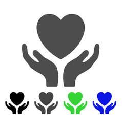 Love heart care hands flat icon vector