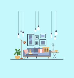 Modern living room with sofa and lighting vector