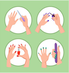Nail service collection banner vector