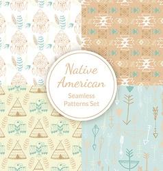 Native American Seamless Patterns Set vector image vector image