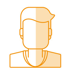 Orange silhouette shading of faceless half body vector