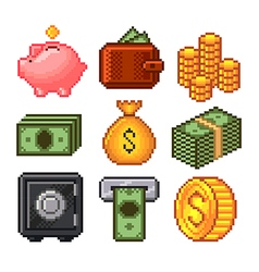 Pixel money icons set vector