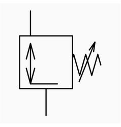Pressure reducing valve symbol icon vector