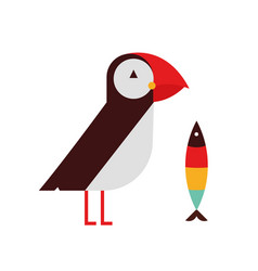 puffin bird flat on white vector image