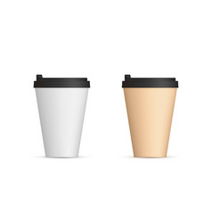 realistic paper coffee cups with lid front view vector image