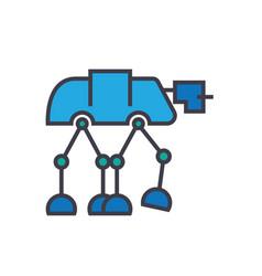 Robot warior armored transport flat lin vector