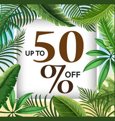 Sale poster design with green leaves vector