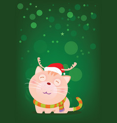 santa cat stand alone for greeting christmas eve vector image