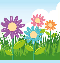 Scene with colorful flowers in garden vector