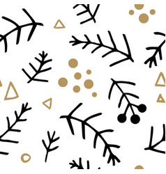 seamless christmas pattern with fir branches vector image