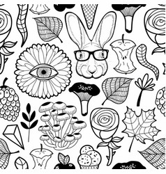 Seamless pattern with monster flower eye and vector