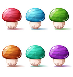 set cartoon mushroom red blue green yellow vector image