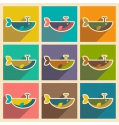 Set flat icons with long shadow whale fountain vector