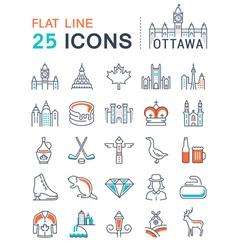 Set Flat Line Icons Ottawa vector